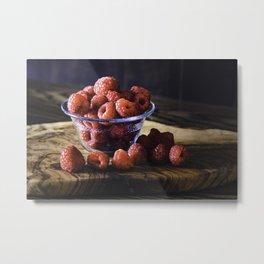 Raspberries for breakfast, raspberries on a wood table top Metal Print