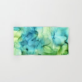 Blue Green Spring Marble Abstract Ink Painting Hand & Bath Towel