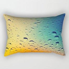 Rain drops on the glass. Multicolored. Rectangular Pillow