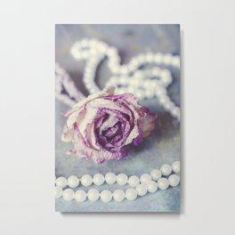 Pearls and Rose Metal Print