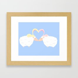 Animal Love: Sheep & Bunnies Framed Art Print