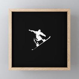 Snowboarding White Abstract Snow Boarder On Black Framed Mini Art Print