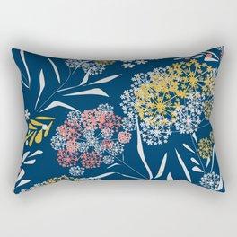 Blue, flower pattern Rectangular Pillow