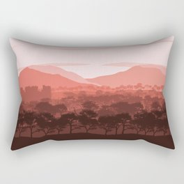 Terracotta Flat Landscape,Mountain Landscape, Forest Landscape, Castle Landscape, Nature Landscape Rectangular Pillow