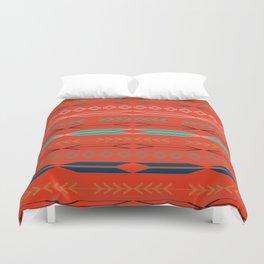 Navajo motifs in red Duvet Cover