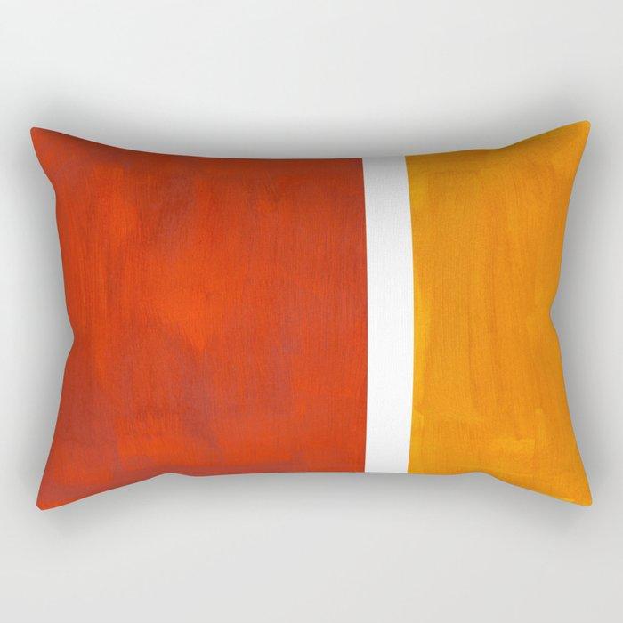 Burnt Orange Yellow Ochre Mid Century Modern Abstract Minimalist Rothko Color Field Squares Rectangular Pillow