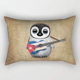 Baby Penguin Playing Cuban Flag Guitar Rectangular Pillow