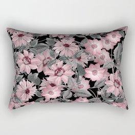 Nostalgic Floral Pattern On Black Rectangular Pillow