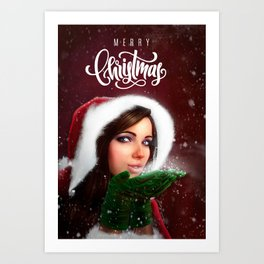Lady Christmas Art Print