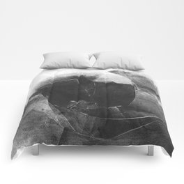 Black and White Contrast Textured Abstract Comforters