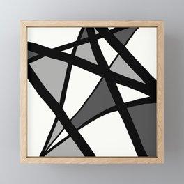 Geometric Line Abstract - Black Gray White Framed Mini Art Print
