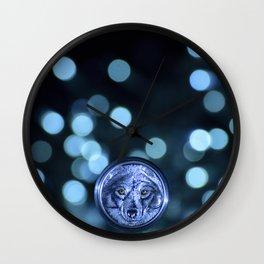 Silver Wolf Wall Clock