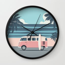 Surfer Graphic Beach Palm-Tree Camper-Van Art Wall Clock