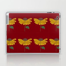 Yellow flower on a burgundy background Laptop & iPad Skin