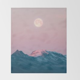 Moon and the Mountains – Landscape Photography Throw Blanket