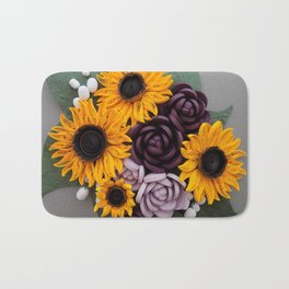 Sunflowers Roses Paper Quilled Flowers Bath Mat