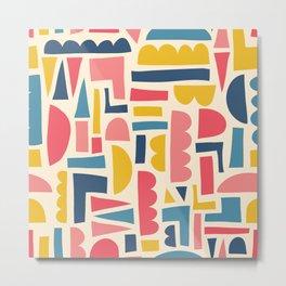 Kids Shapes Collage Blue Pink Yellow Metal Print
