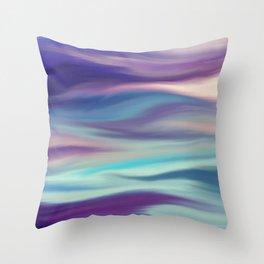 Painted digital silk texture blue colors Throw Pillow