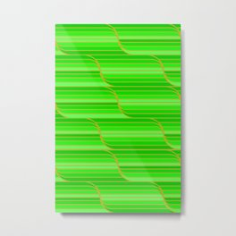 Geo Stripes - Green Metal Print