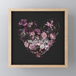 You Are The One // Floral Valentine's Heart Framed Mini Art Print