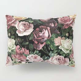 Vintage & Shabby chic - dark retro floral roses pattern Pillow Sham