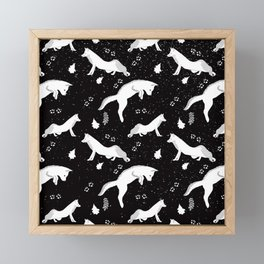 Funny Fox Winter Pattern - White on Black - Mix & Match with Simplicity of life Framed Mini Art Print