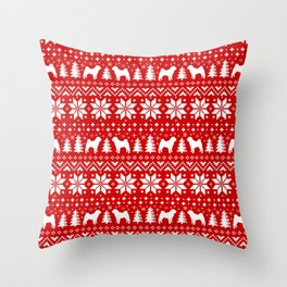 Shar Pei Silhouettes Christmas Sweater Pattern Throw Pillow