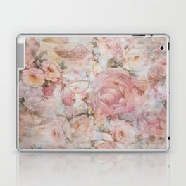 Vintage elegant blush pink collage floral typography Laptop & iPad Skin