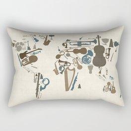 Musical Instruments Map of the World Rectangular Pillow