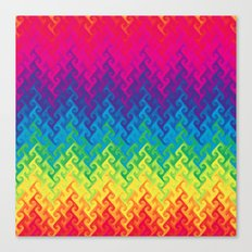 neon rainbow flame chevron Canvas Print