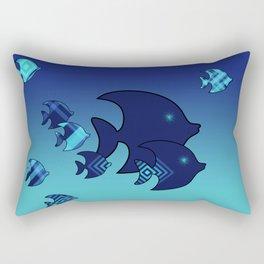 Nine Blue Fish with Patterns Rectangular Pillow