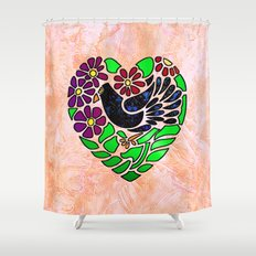 Gothic Bird in Heart on Pink Shower Curtain