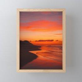 Sunset on the coast Framed Mini Art Print