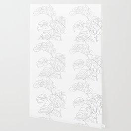 Line Art Monstera Leaves Wallpaper