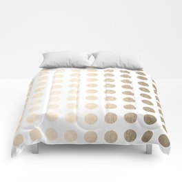 Simply Polka Dots in White Gold Sands Comforters