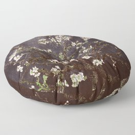 Vincent Van Gogh Almond Blossoms dark gray slate Floor Pillow
