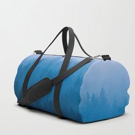 Blue Mountain Pine Trees Blue Ombre Gradient Colorful Landscape photo Duffle Bag