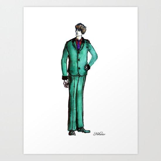 Beetles Green Dandy Art Print