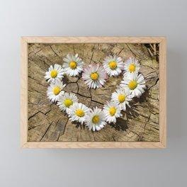 Daisy Heart Flowers Flower Framed Mini Art Print