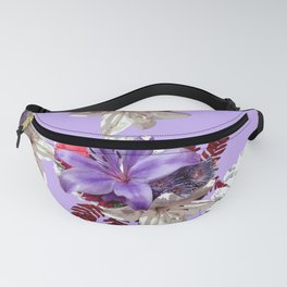 LILY PURPLE LILIES AND WHITE HYDRANGEAS Fanny Pack