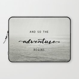 And So The Adventure Begins - Ocean Emotion Black and White Laptop Sleeve