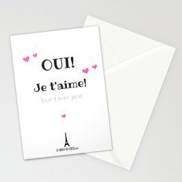 Oui je t'aime (Yes I love you) Stationery Cards