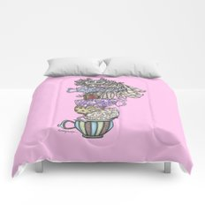 Owlice Wants Another Cup of Tea Pink Comforters
