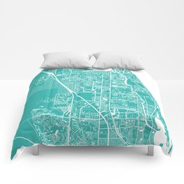 Jupiter FL map turquoise Comforters
