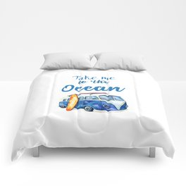 Take me to the Ocean // Summer quote with van and surfboard Comforters