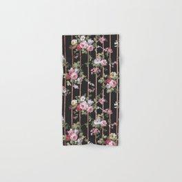 Elegant faux rose gold black stripes vintage blush pink lavender floral Hand & Bath Towel