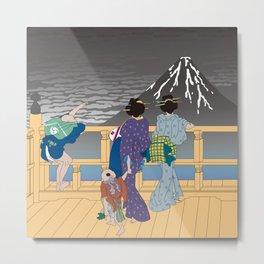 Hokusai People Seeing Mt. Fuji in the Rainy Sky Metal Print