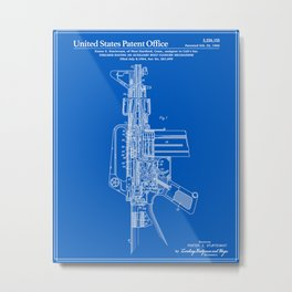 AR-15 Semi-Automatic Rifle Patent -Blueprint Metal Print