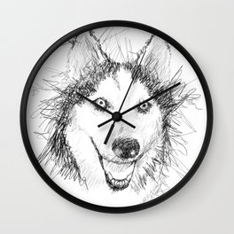 Scribble Art of Husky Dog Wall Clock