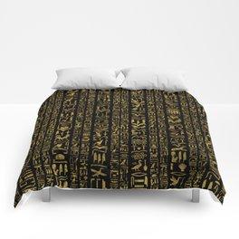 Egyptian hieroglyphs vintage gold on black Comforters